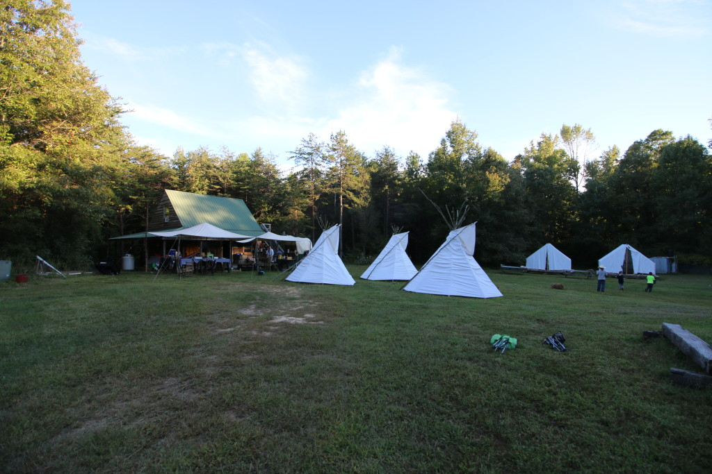 Teepees and tents at the Rusty Spur Cabin